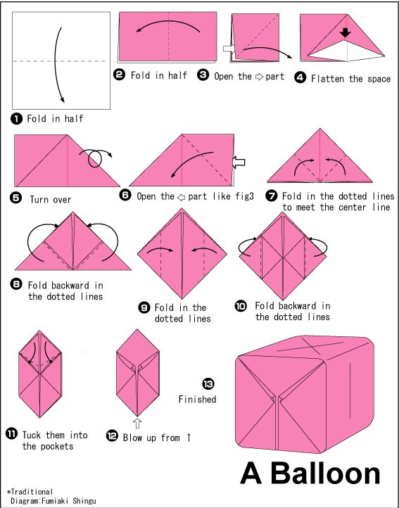 Origami Balloon Instructions Origami Box Instructions For Kids