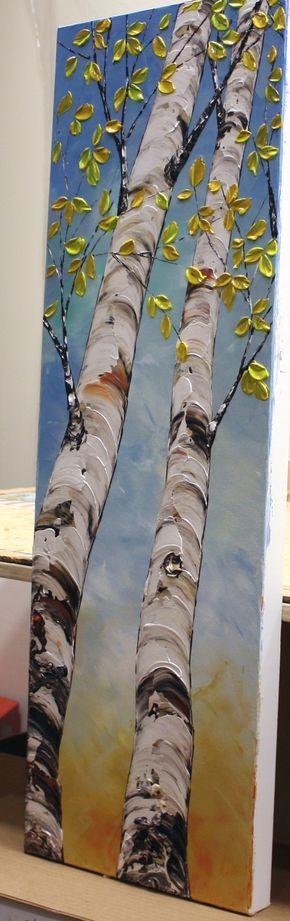 Triptyque de texture grande peinture originale, bouleau, couteau à Palette, trois illustrations de panneau pour votre décor de salle de séjour. Nouveau et en excellent état. Directement à partir de mon studio.  « Looking Up »  taille : 36 « x 36 » x 1.5 (3 toile 36 « x 12 »)  MÉDIUM : Acrylique, empâtement  COULEURS dominantes: Bleu, blanc, jaune, rouge, noir...   TOILE : 1,5 Galerie enveloppé toile, les côtés peintes en noir.  Une couche finale de vernis de haute qualité a été appliquée…