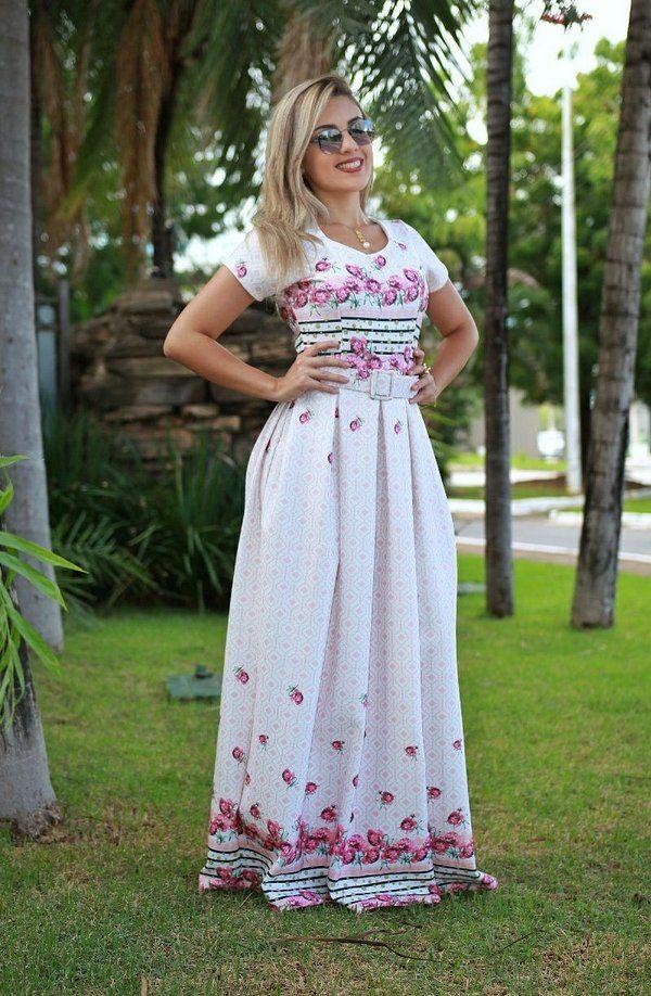 17fdc2d3f2 Vestido longo branco floral - Moda Evangélica - Flor de Amêndoa