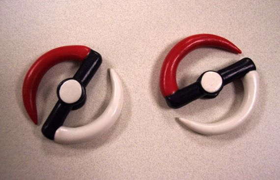 Size 2 Long Spiral Pokeball Plugs / Gauges for Ears / by BugTaxi, $20.00
