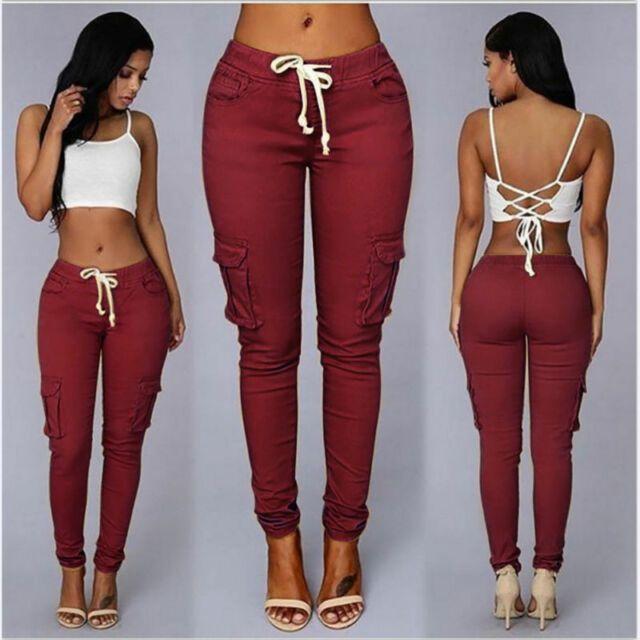S 4xl Mujer Cargo Pantalones Cintura Alta Pantalones Jogger Skinny Bolsillos Sweatpants Nos Ebay Pants For Women Women Jeans Cargo Pants Women