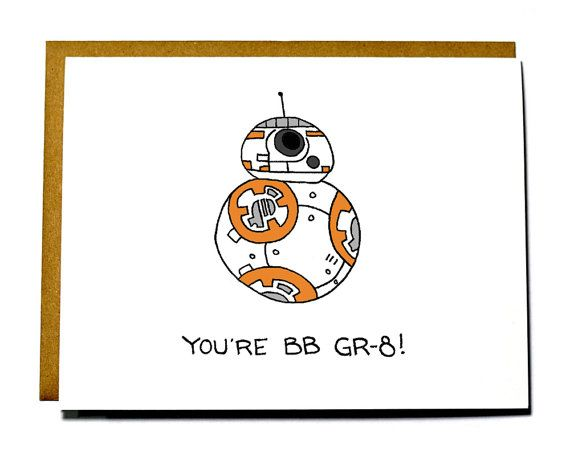 Star Wars BB8 I love you card, Valentines Day card, Force Awakens