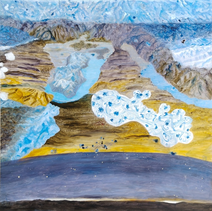 Barbara Tuck, Pour and Melt of Distances, 2009, Oil on board, 750 x 750mm
