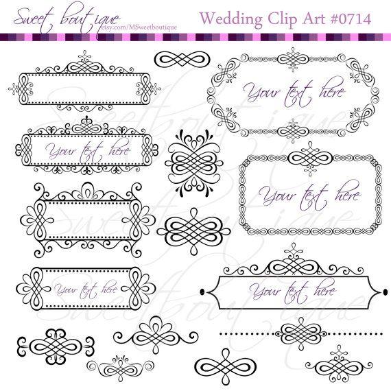 Black Digital Clipart Frames Wedding Clip Art Embellishment Text Dividers 3 Get 1 Free 0714