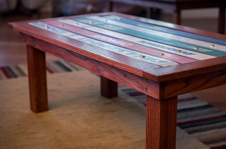 Coffee table with ski top.
