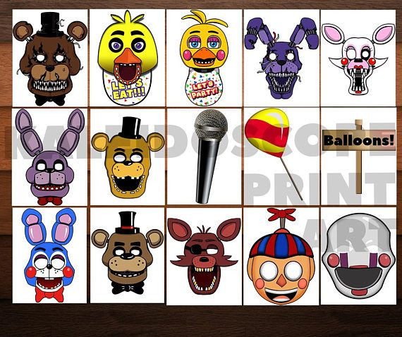 FNAF Photo Booth-Png Five Nights At Freddys Masks-FNAF Mask-FNAF Photo Props-Digital Party Masks-Fnaf Party Decoration-Instant Download Photo Booth is the perfect decor for your party or any other day!You only need to print and glue on cardboard for greater durability the masks!