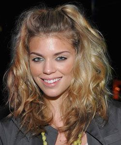 For AnnaLynne McCord's half-up look gather the front two inches of your hai
