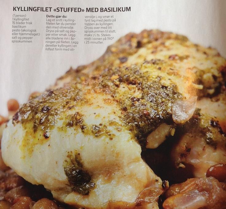 Kyllingfilet stuffet med basilikum