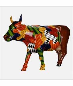 CowParade Kansas City cow detail - Beauty is Only Skin Deep