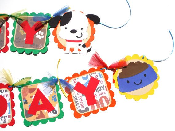 Puppy Party Themed Happy Birthday Banner With by ScrapsToRemember, $30.00