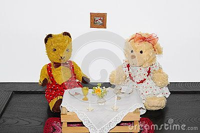 Teddy bear Morulet taking dinner Bears are bought from the supermarket, the old one is bought 50 years ago.