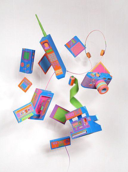 Zim & Zou - Back to Basics Tiphaine-illustration   #vintage #mobilephone #polaroid #cassettetape #gameboy