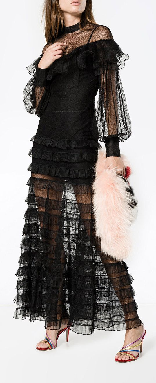 ALESSANDRA RICH  Sheer Lace Ruffled Dress, explore now on Farfetch.