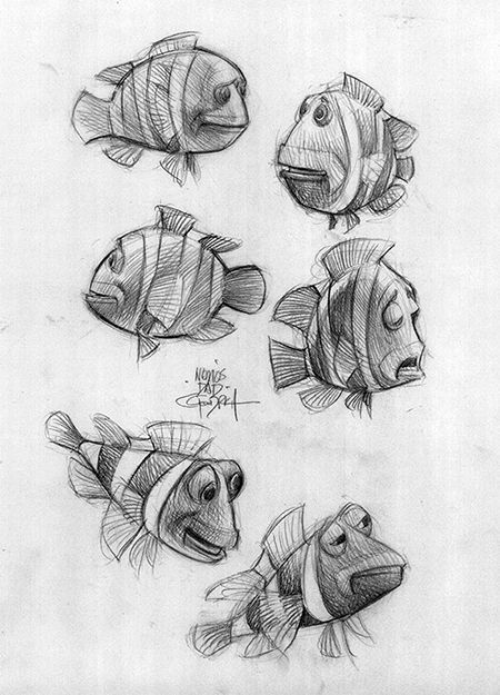 """Concept art of Marlin by animator Carter Goodrich from Disney Pixar's """"Finding Nemo"""" (2003). ★ Find more at http://www.pinterest.com/competing/"""