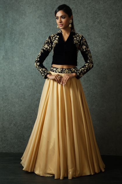 W16-132 - Foil georgette lehenga with navy blue velvet crop top embellished with zardosi and sequins work.