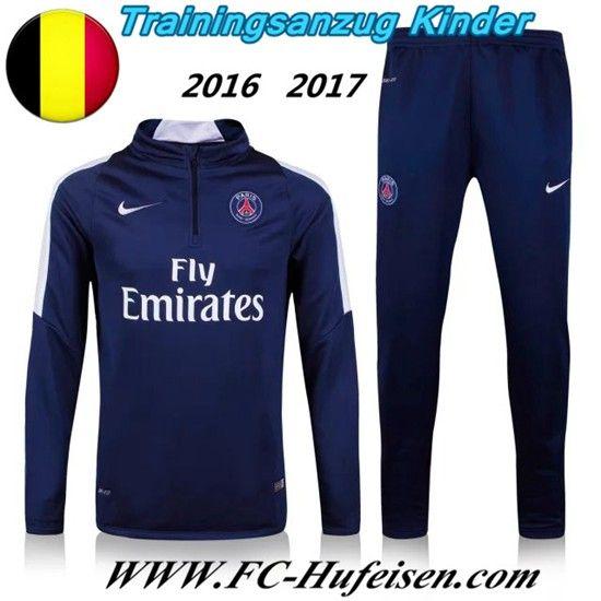 Schönsten Neue Fußball Trainingsanzug PSG Kinder Kits Blau 2016 2017 Meaney