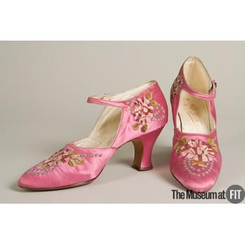 Shoes Made Of Pink Satin, And Pink, Green And White Embroidery, By F. Pinet - France   c.1925  -  The Museum at FIT