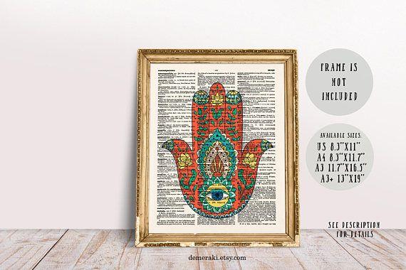 Yoga Poster Print Hamsa Hand Yoga Wall Art Yoga Poster Yoga Wall Art Poster Prints Yoga Poster