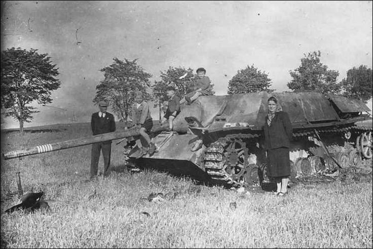 A abandoned Jagdpanzer IV L70 now adorns a field as a source of curiosity for the local residents. Judging by the kill rings on the barrel this tank was manned by quite a successful crew before being put out of action.