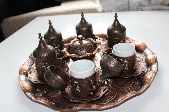 Copper Turkish Coffee SetHandmade Coffee by BeautyofTurkey on Etsy