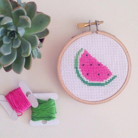 SALE : Watermelon Emoji Cross Stitch Hoop by daisymakesberlin