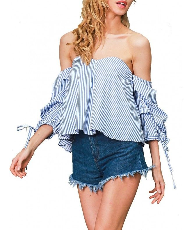 0672ae4601d Women's Sexy Striped Off Shoulder Blouses Tops Shirt - Blue White Strip -  C512O7SHP0F,Women's Clothing, Tops & Tees, Blouses & Button-Down Shirts # Tops ...