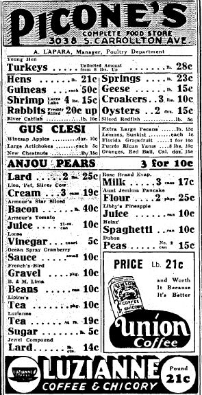 """Ad for Picone's Complete Food Store published in the Times-Picayune newspaper (New Orleans, Louisiana), 23 November 1935. Read more on the GenealogyBank blog: """"Old Fashioned Thanksgiving Recipes in the Newspaper."""" http://blog.genealogybank.com/old-fashioned-thanksgiving-recipes-in-the-newspaper.html"""
