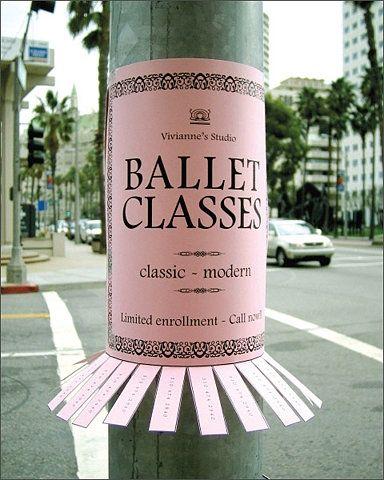 Uma ideia incrivelmente simples para anunciar aulas de ballet #criativiade #ad #mkt