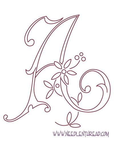 _ free hand embroidery pattern flowered monogram letters a z