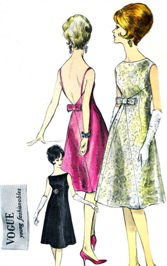 1960s Evening Dress Pattern Vogue 5643 Sleeveless Plunging Back Mod Evening Dress Womens Vintage Sewing Pattern Bust