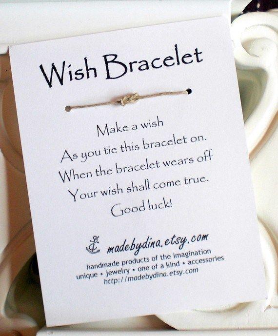 50 Best Bridal Shower Favor Ideas: wish bracelet (by made by dina)