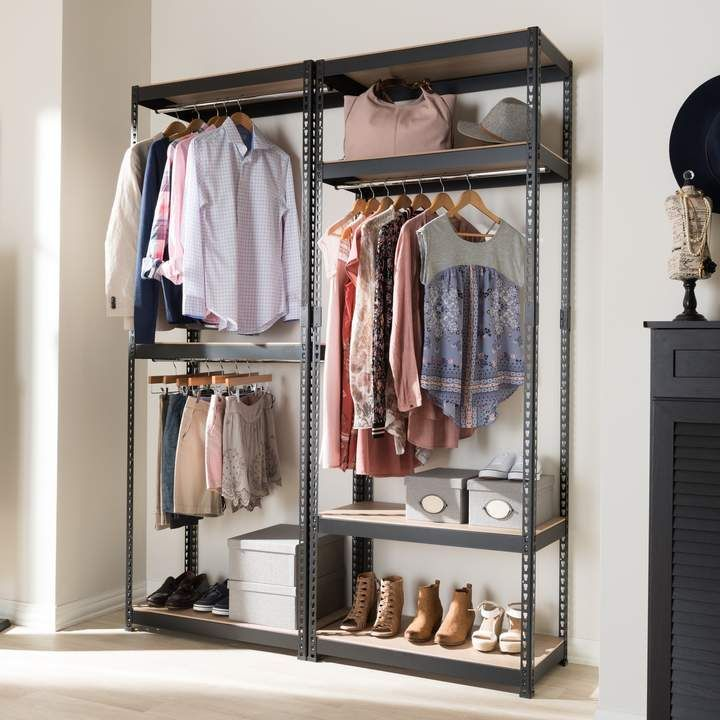 Baxton Studio Gavin 5 Shelf Garment Rack Clothes Storage Without