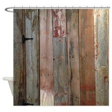 rustic western barn wood Shower Curtain