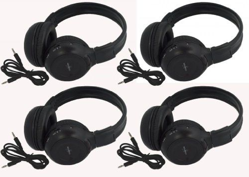 "Four Pack of Two Channel Folding Adjustable Universal Rear Entertainment System Infrared Headphones With Four Additional 48"" 3.5mm Auxiliary Cords Wireless IR DVD Player Head Phones for in Car TV Video Audio Listening With Superior Sound Quality - http://www.caraccessoriesonlinemarket.com/four-pack-of-two-channel-folding-adjustable-universal-rear-entertainment-system-infrared-headphones-with-four-additional-48-3-5mm-auxiliary-cords-wireless-ir-dvd-player-head-phones-for-in-ca"