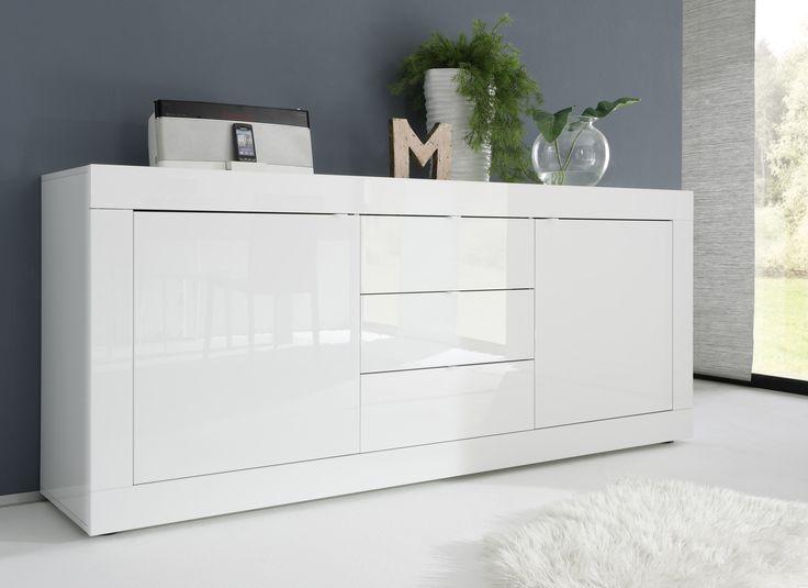 Modern dressoir Basic met laden van Italiaans design volledig uitgevoerd in de kleur Hoogglans wit