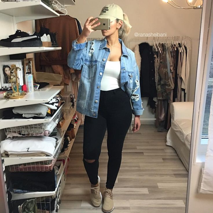 good denim jacket outfits for school 14