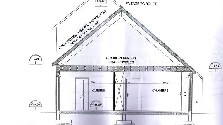 Plan 3D via le logiciel SketchUp de la façade Sud-Est du0027une maison