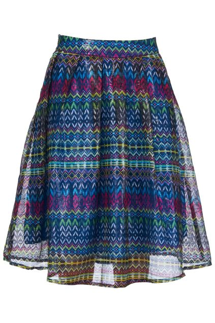 Ethnic Print Blue Skirt #Romwe