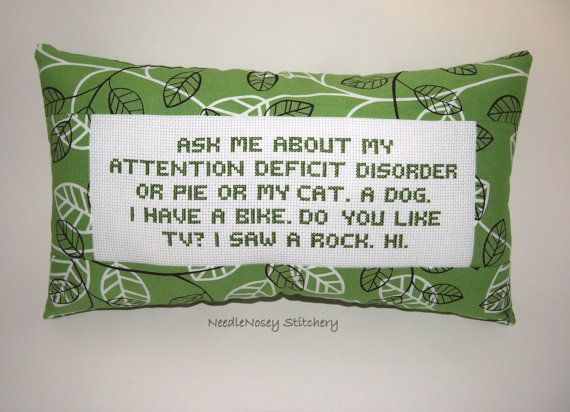 Funny Cross Stitch Pillow Green Pillow Attention by NeedleNosey, $23.00