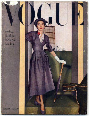 British Vogue April 1948 Spring Fashions, Paris and London Horst cover