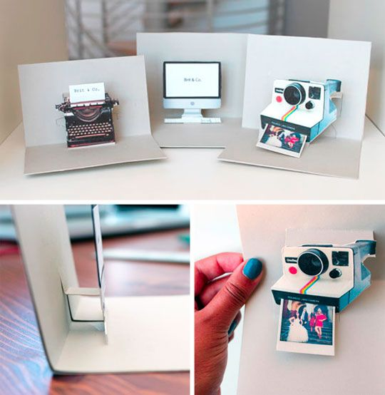 DIY iMac, Polaroid, and Typewriter Pop-Up Name Cards by Brit & Co via apartmenttherapy with templates of  iMac, Polaroid, and Typewriter images.  #Name_Cards #Polaroid #iMac Brit_&_Co #apartmenttherapy
