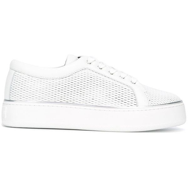 Max Mara - lace-up sneakers - women - Leather/rubber - 38 (25.035 RUB) via Polyvore featuring shoes, sneakers, white, white rubber shoes, lace up shoes, rubber shoes, white leather shoes and white leather trainers