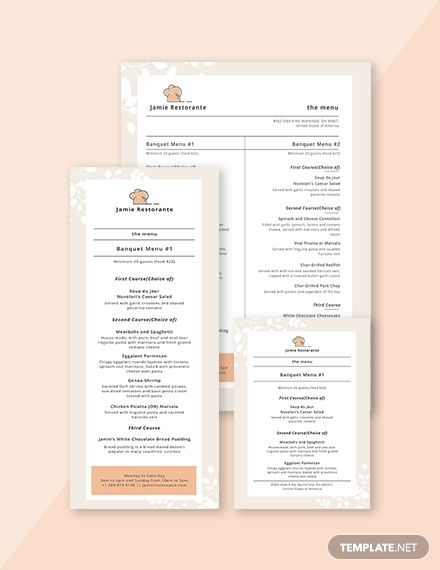 Simple Banquet Menu Menu Templates  Designs 2019 Menu template
