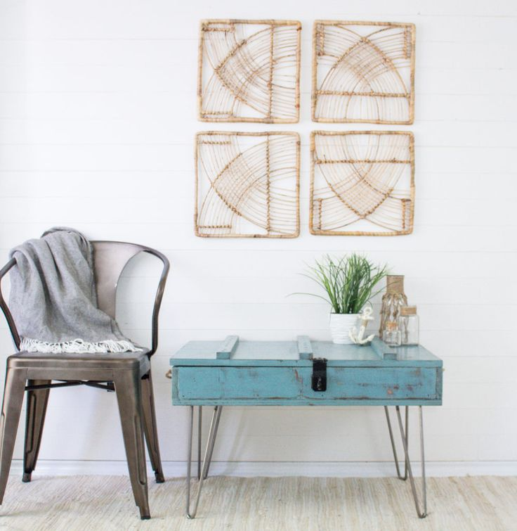 Repurposed Vintage Coffee Table   Upcycled Ammo Crate With Hairpin Legs In  Coastal Beach Distressed Teal Turquoise Paint