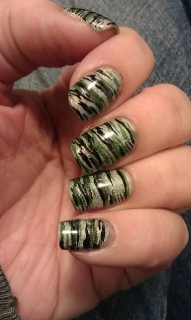 butter london dodgy barnett stamped with aengland dragon & cultnails nevermore   nails camo silver green stamping nail art nail polish holo holographic