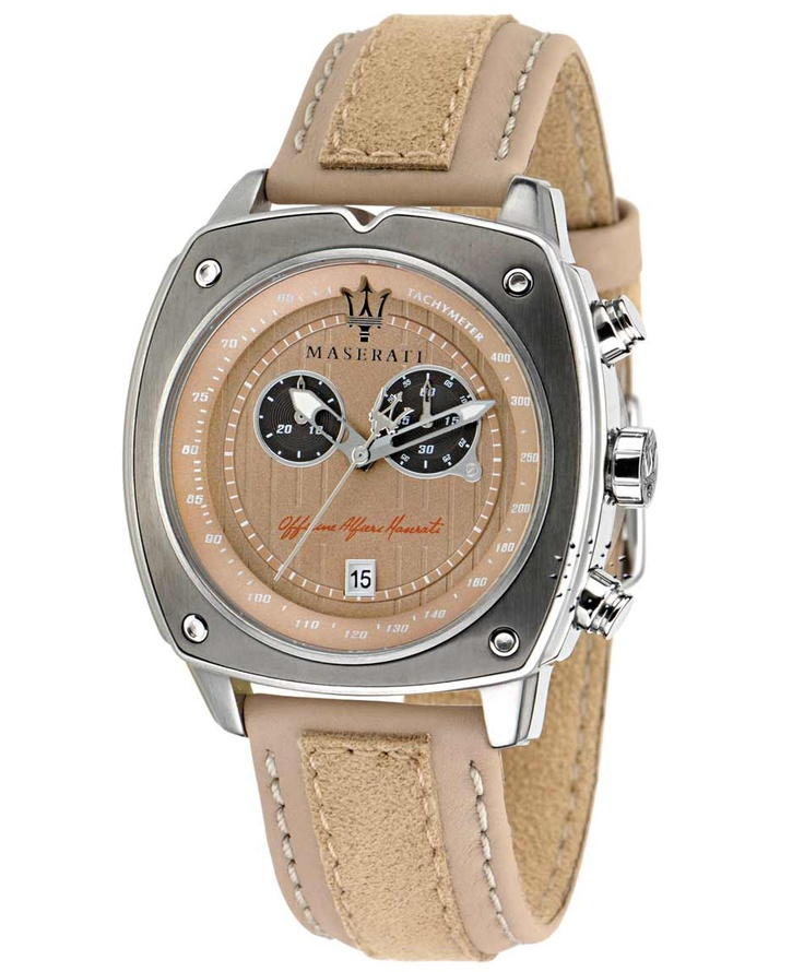 MASERATI Chronograph Beige Leather Strap Μοντέλο: R8871606003 Τιμή: 261€ http://www.oroloi.gr/product_info.php?products_id=32539