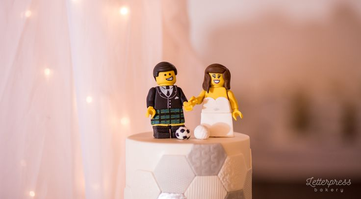 Lego wedding cake toppers Lego Vollyball player Bride, Lego Soccer Player Groom made out of gumpaste