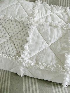 White on white rag quilt.