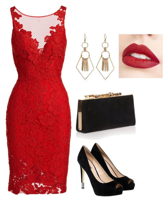"""Elegant"" by christie-devina on Polyvore featuring ML Monique Lhuillier, Jimmy Choo, GUESS and Jouer"