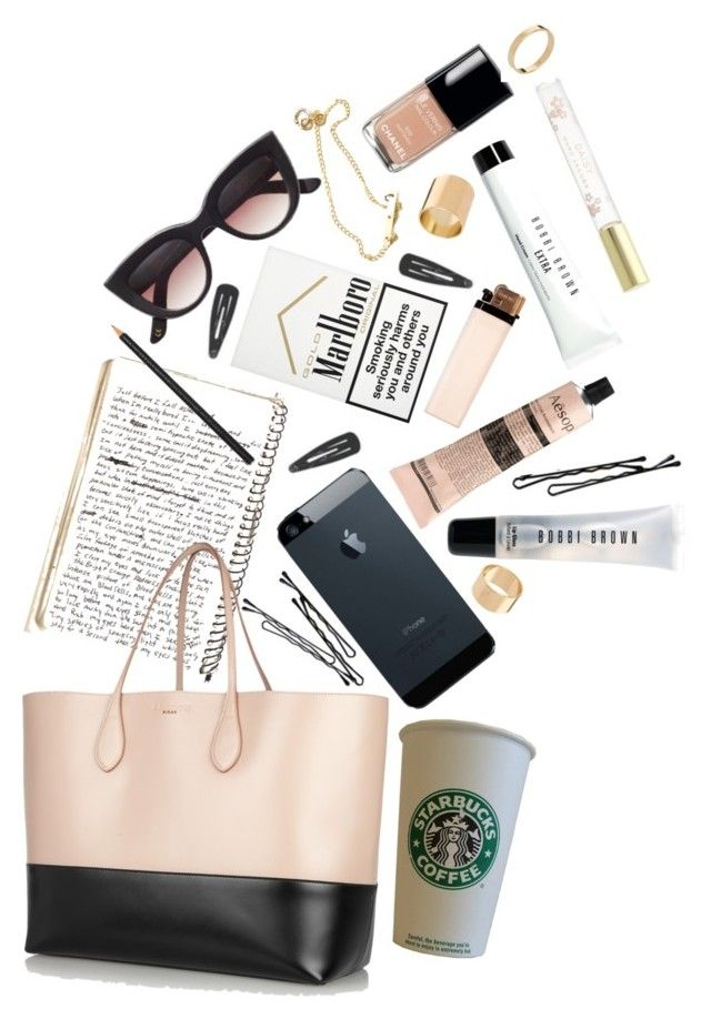 """what's in my bag?"" by indu-s ❤ liked on Polyvore featuring Bobbi Brown Cosmetics, Marc Jacobs, ASOS, Chanel, BOBBY, Aesop, Rochas and Hermès"
